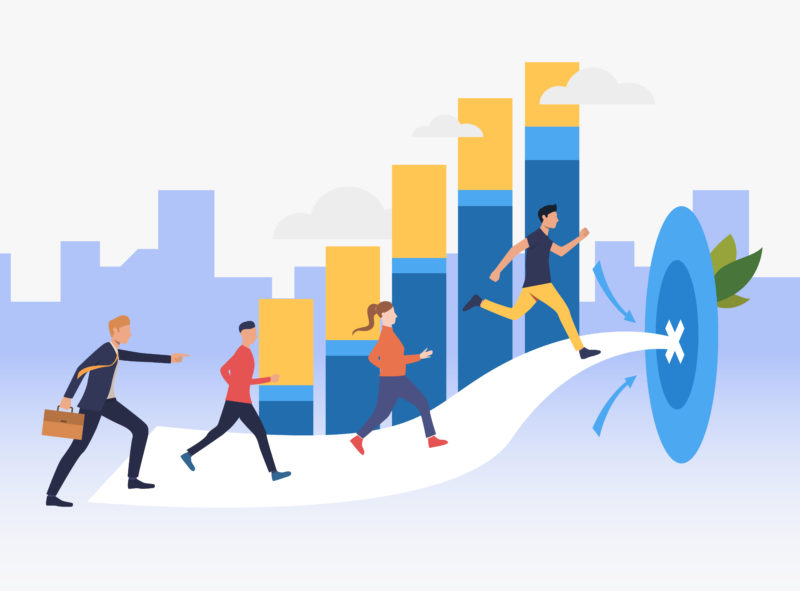 Workers running to target with bar chart in background. Goal, competition, growth, success concept. Can be used for topics like business, finance, marketing