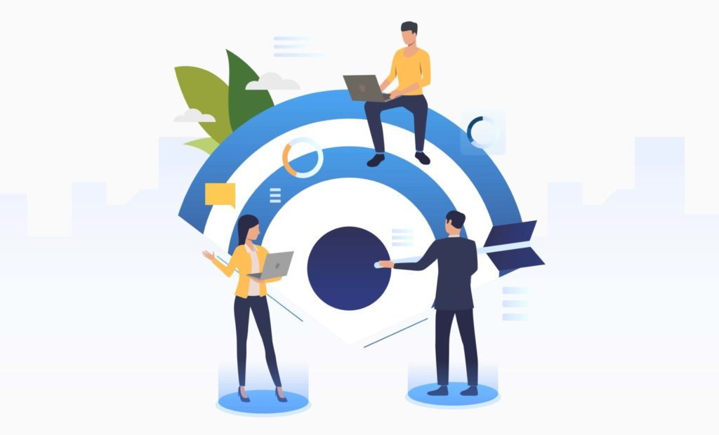 Business people working and setting company target. Planning, management, strategy concept. Vector illustration can be used for topics like business, finance, targeting