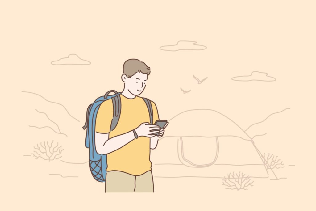Travel, tourism or weekend concept. Traveler using smartphone, watches videos, writes for a blog or communicates with friends on a mobile phone. Vector flat design.
